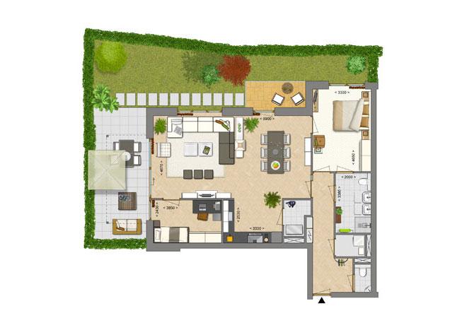 Ingekleurde plattegronden pi3d visualisaties for Plattegrond tuin maken